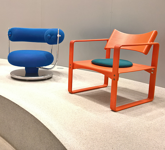 Components of the Series 400 (l) and Series 270 F (r) by Verner Panton for Thonet, both examples of furniture systems, and both with not initially obvious functionalities, as seen at Thonet & Design, Die Neue Sammlung – The Design Museum, Munich (17.05.2019 – 06.06.2021)