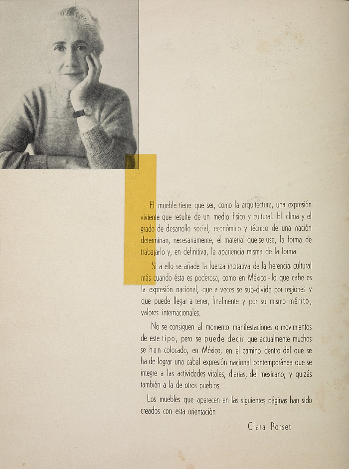"""Clara Porset's introduction to the catalogue for IRGSA's collection of her designs released under the title Prestigio en Muebles de Madera, and for which she became the first furniture designer in Mexico to receive royalties on sales, catalogue ca 1951 (Courtesy <a href=""""https://www.aaa.si.edu/collections/esther-mccoy-papers-5502"""" target=""""_blank"""" rel=""""noopener"""">Esther McCoy papers, Archives of American Art, Smithsonian Institution</a>)"""