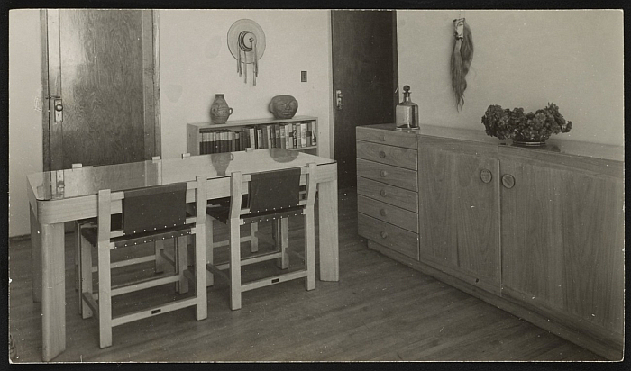 """A dining combination by Clara Porset, undated. The low-back dining/kitchen chair is/was a recurring concept....(Photo courtesy <a href=""""https://www.aaa.si.edu/collections/esther-mccoy-papers-5502"""" target=""""_blank"""" rel=""""noopener"""">Esther McCoy papers, Archives of American Art, Smithsonian Institution</a>)"""