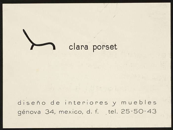 Clara Porset. Diseño de interiores y muebles (Courtesy Esther McCoy papers, Archives of American Art, Smithsonian Institution)