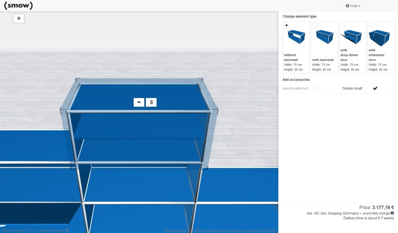 smow USM Configurator - Accessories and settings for a USM shelf