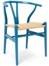 CH24 Wishbone Chair, Darkblue lacquered beech, Nature mesh