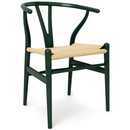 CH24 Wishbone Chair, Forest green lacquered beech (Limited Edition), Nature mesh