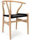 CH24 Wishbone Chair, Lacquered beech, Black mesh