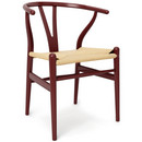 CH24 Wishbone Chair, Rust red lacquered beech (Limited Edition), Nature mesh