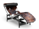 LC4 Chaise Longue, Chrome-plated, Spotted hide black-white-brown