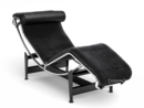 LC4 Chaise Longue, Chrome-plated, Black hide