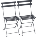 Bistro Folding Chair Set of 2, Anthracite