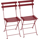 Bistro Folding Chair Set of 2, Chili