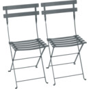 Bistro Folding Chair Set of 2, Storm grey