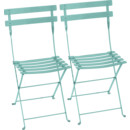 Bistro Folding Chair Set of 2, Lagoon blue
