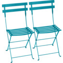 Bistro Folding Chair Set of 2, Turquoise