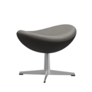 Egg Footstool, Leather Essential, Lava, Satin polished aluminium