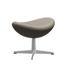 Egg Footstool, Leather Essential, Light grey, Satin polished aluminium