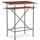 High Desk Milla, 70cm, Black, Linoleum salsa red (Forbo 4164) with oak edges