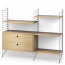 String System Floor Shelf with Drawers, Grey, Oak veneer