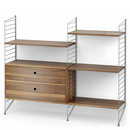String System Floor Shelf with Drawers, Grey, Walnut veneer