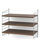 String System Shelf S, 30 cm, Grey, Walnut veneer