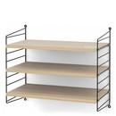 String System Shelf S, 30 cm, Black, Oak veneer
