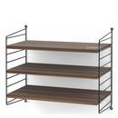 String System Shelf S, 30 cm, Black, Walnut veneer
