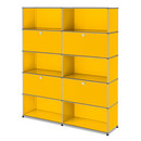 USM Haller Storage Unit L, Customisable, Golden yellow RAL 1004, With 2 drop-down doors, Open, With 2 drop-down doors, Open