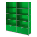 USM Haller Storage Unit L, Customisable, USM green, Open, Open, Open, With 2 extension doors
