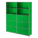 USM Haller Storage Unit L, Customisable, USM green, Open, With 2 drop-down doors, With 2 drop-down doors, With 2 extension doors