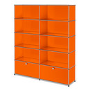 USM Haller Storage Unit L, Customisable, Pure orange RAL 2004, Open, Open, Open, With 2 extension doors