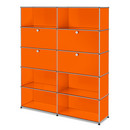 USM Haller Storage Unit L, Customisable, Pure orange RAL 2004, With 2 drop-down doors, With 2 drop-down doors, Open, Open