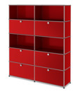 USM Haller Storage Unit L, Customisable, USM ruby red, With 2 drop-down doors, Open, With 2 drop-down doors, With 2 extension doors