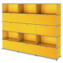USM Haller Storage Unit XL, Customisable, Golden yellow RAL 1004, With 3 drop-down doors, With 3 drop-down doors, Open, With 3 extension doors