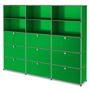 USM Haller Storage Unit XL, Customisable, USM green, Open, With 3 drop-down doors, With 3 drop-down doors, With 3 drop-down doors