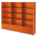 USM Haller Storage Unit XL, Customisable, Pure orange RAL 2004, Open, Open, Open, With 3 extension doors