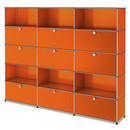 USM Haller Storage Unit XL, Customisable, Pure orange RAL 2004, With 3 drop-down doors, With 3 drop-down doors, Open, With 3 extension doors