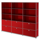 USM Haller Storage Unit XL, Customisable, USM ruby red, Open, Open, With 3 drop-down doors, With 3 drop-down doors