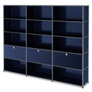USM Haller Storage Unit XL, Customisable, Steel blue RAL 5011, Open, Open, With 3 drop-down doors, Open