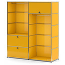 USM Haller Clothes Rack L with 2 Hanging Rails, Golden yellow RAL 1004