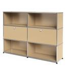 USM Haller Highboard L, Customisable, USM beige, Open, With 2 drop-down doors, Open