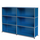 USM Haller Highboard L, Customisable, Gentian blue RAL 5010, Open, Open, Open
