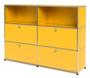 USM Haller Highboard L, Customisable, Golden yellow RAL 1004, Open, With 2 drop-down doors, With 2 drop-down doors