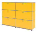 USM Haller Highboard L, Customisable, Golden yellow RAL 1004, With 2 drop-down doors, With 2 drop-down doors, With 2 drop-down doors