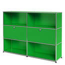 USM Haller Highboard L, Customisable, USM green, Open, With 2 drop-down doors, Open