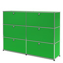USM Haller Highboard L, Customisable, USM green, With 2 drop-down doors, With 2 drop-down doors, With 2 drop-down doors