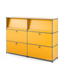 USM Haller Highboard L with Angled Shelves, Golden yellow RAL 1004