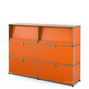 USM Haller Highboard L with Angled Shelves, Pure orange RAL 2004