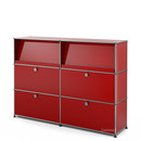 USM Haller Highboard L with Angled Shelves, USM ruby red