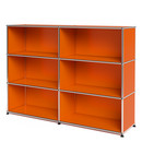 USM Haller Highboard L, Customisable, Pure orange RAL 2004, Open, Open, Open