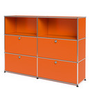 USM Haller Highboard L, Customisable, Pure orange RAL 2004, Open, With 2 drop-down doors, With 2 drop-down doors
