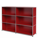 USM Haller Highboard L, Customisable, USM ruby red, Open, Open, Open