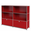 USM Haller Highboard L, Customisable, USM ruby red, Open, Open, With 2 drop-down doors